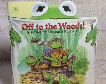 1993 Muppets Off to the Woods Kermit Camping Kids Mini Book A Golden Little Super Shape Book Jim Henson