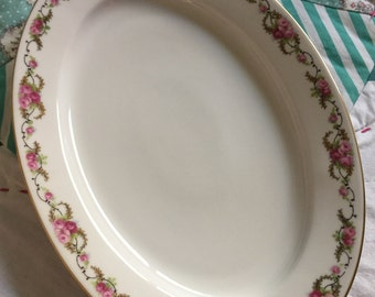 Vintage Oval Platter Dainty Pink Roses Royal Bayreuth Made in Bavaria German China #4086