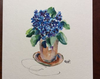 Potted Blue Blooms Watercolor Card / Hand Painted Watercolor Card