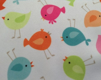 PUL Fabric, Little Birds by Babyville, Waterproof, Nursery Fabric, Great for Baby Bibs, Diaper Covers, Changing Pads