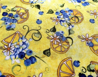 """Yellow Fabric, Blueberry Fabric, Wilmington Prints Yellow """"Sweet Tart Parfait"""" 100% cotton fabric, Quality Quilting Material, Bright Yellow"""
