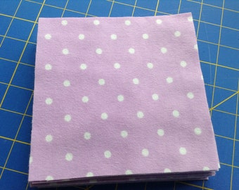 Lavender Flannel 6 Inch Fabric Squares, 30 Precut Squares, Rag Quilt Squares, Craft, Sewing Supply, White Polka Dot Flannel, Rotary Cut