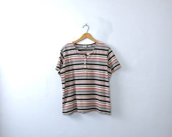 Vintage 90's striped tee, boxy loose fit henley shirt, women's size large