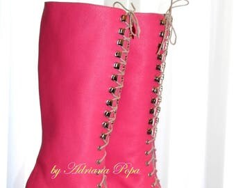 Pink Victorian Boots Pink Edwardian Booties Barbie Ankle Boots lace up Shoes in crazy Pink leather Ankle boots