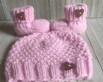 Hand Knitted Baby Hat - Baby Hat and Booties - Baby Shower Gift - Gender Reveal Idea - Knitted Baby Gift - Pink Baby Gift - Baby Bootie