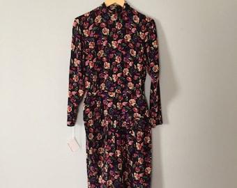 30% OFF WINTER SALE... Ann Taylor silk dress | floral silk wrap skirt dress with bow