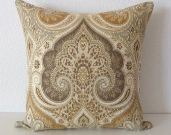 Latika Prairie medallion linen gold brown gray decorative pillow cover accent pillow