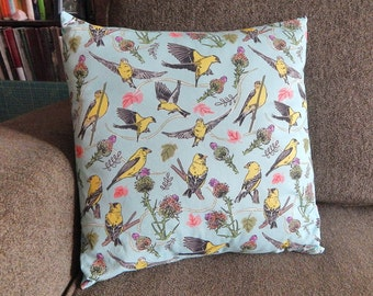 Goldfinches and Thistles 14 x 14 Inch Pillow in Yellow Light Aqua and Magenta