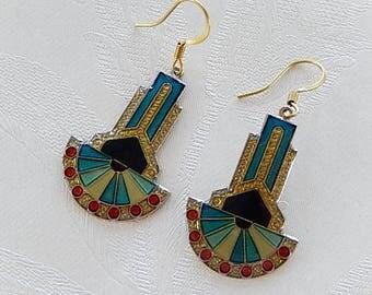 Boho Earrings, Art Deco Design, Dangly,  Gift for Her