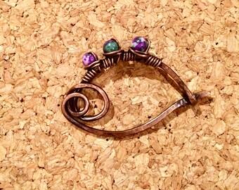 Howlite Copper Brooch / Shawl Pin / Hair Pin / Hair Barrette / Organic Jewelry / Feng Shui Jewelry / Crown Chakra