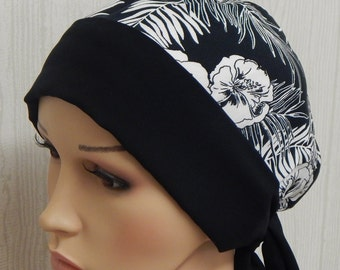 Black and white chemotherapy head scarf, women's head covering, cancer bonnet, chemo cap, short hair wrap, head wrap for chemo