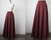Vintage Brick Red WOOL Maxi Full Length Sweeping Full Skirt Formal Dramatic Anne Klein 90s S-M