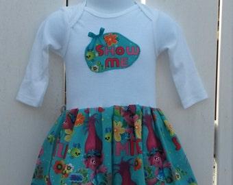 SALE - Size 6-9 Months Aqua Trolls Applique Long Sleeve Onesie Dress READY to SHIP
