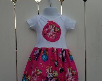 SALE - Size 18 Months Pink Shopkins Short Sleeve Onesie Dress  Li Li