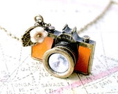 Tan Leather Camera Necklace, Camera Necklace - Iceblues