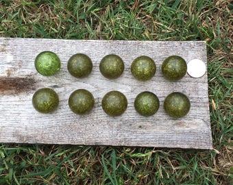 10 Acrylic Vintage Drawer Knobs Sparkle Avacado Green Hardware
