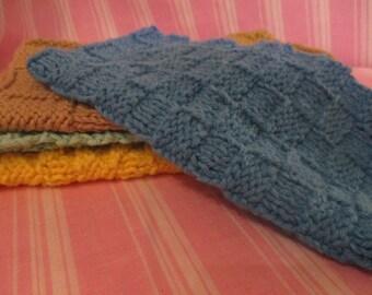 100% Cotton Washcloth Textured Handknit Seaglass