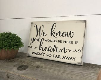 Wedding Memorial Sign- In Loving Memory Wedding Sign -  We Know You Would Be Here if Heaven Wasnt So Far Away