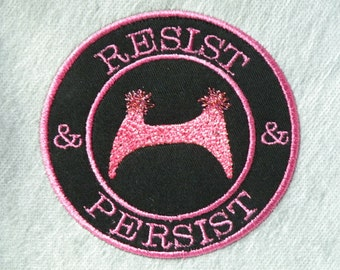 Resist & Persist Pussy Hat Iron on Patch- 4 inch