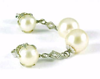 Cultured Pearl Diamond 14k White Gold Pendant Earrings