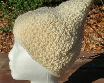 Hand Spun Hand Crochet Pixie Hat