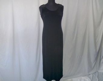 Vintage 80's Black Velvet Stretchy Tank Maxi Dress by La Belle® Size 8