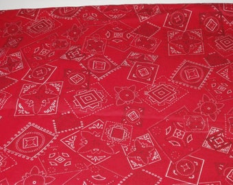 Cotton Polyester Blend Red Bandana Print Fabric 3.5 Yards Sewing Crafting Quilting Fabric Yardage