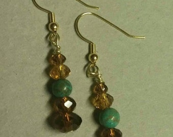 Faceted Topaz crystals and Brazilian Rainforest Marble,  Dangle Drop Earrings with Gold Tones, Pierced Gifts for Her, Anniversary Jewelry