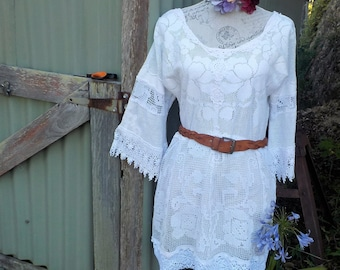 "bohemian vintage lace tunic  - hippy dress - alternative mini -  m/ large - 38"" bust"