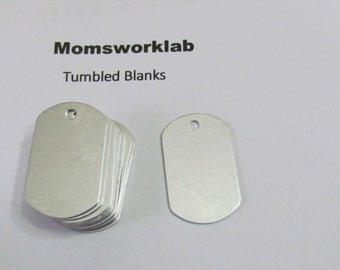 Dog tags//Aluminum tags// 20 G Aluminum//tumbled blanks/keychain blanks//necklace blanks//metal stamps//hand stamping supplies