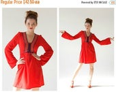 SPRING SALE- 20% OFF Red Bell Sleeve Dress- S, Bohemian 70s, Hippie Folk Festival, Lace Front Mini Dress