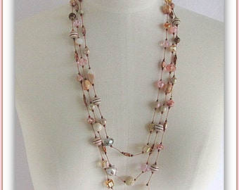 Pink and Cream Multi Strand Silk Knotted Necklace,With Designer Jesse James Beads,Adjustable Length