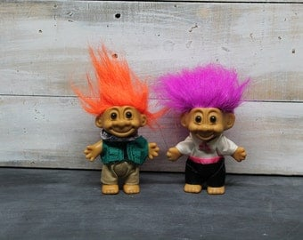 Set of Two Vintage Troll Dolls, Fisherman Troll Doll, Groomsman Troll Doll