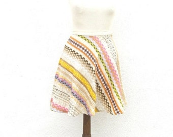 15% OFF Out Of Town SALE 70s Embroidered Mini Skirt High Waisted Fit n Flair Size XS