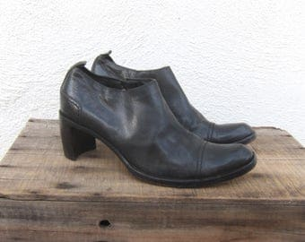 90s Costume National Black Leather Ankle Booties Designer Italian Modernist Minimal Ladies Size 8.5