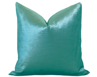 Glisten Velvet Pillow Cover - Turquoise - Turquoise Pillow - Velvet Pillow - Decorative Pillow - Designer Pillow - Shiny Velvet Pillow