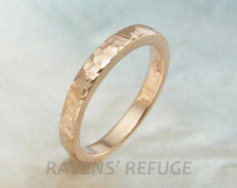 14k gold textured hammered band / wedding band / stacking ring -- 2.5mm, honeycomb