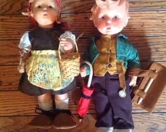 Vintage Hummel Goebel Vinyl Dolls Boy Girl