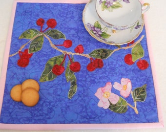 Cherry Tree Pink Cherry Blossom Placemat Cherry Wall Art Snack Mat Mini Placemat Nature Scene Table Trivet Mini Wall Quilt Art Quilt Blue