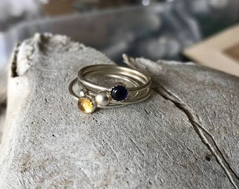 Citrine and Iolite Stacker Rings