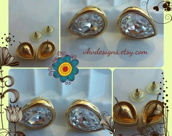 Swarovski - S.A.L - Crystal Teardrop Earrings - Glamour Pierced Earrings - Vintage Statement Earrings - Holiday Glamour - New Years Eve