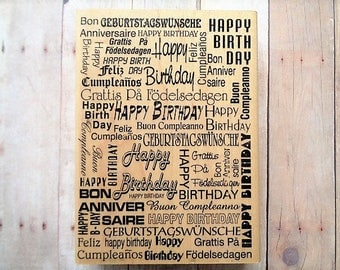 Happy Birthday Rubber Stamp Word Collage Hampton Arts Stamps 1998 Background Layering Image