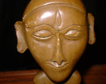 Carved STONE Face Exotic Mystical Unusual