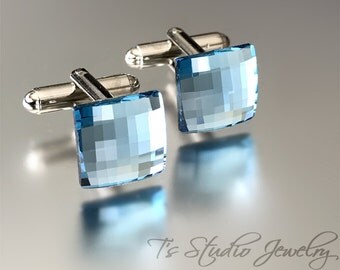 Aqua Ocean Blue Swarovski Crystal Square Chessboard Cufflinks -  Soft Powder Blue