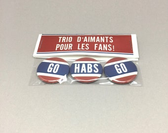 3 magnets for montreal hockey team fans, Go Habs Go, blue, red, white