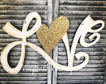 cursive LOVE with glitter heart Wood Cut Out Door Hanger