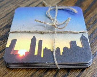 Atlanta Skyline and Savannah Coasters - Set of 5 or 6. Choose one design and specify in order!