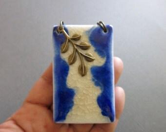 Pendant, Antique tone pendant, Handmade artistic pendant, Porcelain pendant with brass, Unique pendant