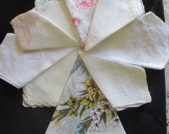 Lot of 9 Vintage Hankies Handkerchiefs