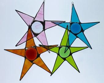 Full-figured stars - 6 inch art glass stars in Pale Watermelon, Turquoise, Grass Green, and Bullseye Orange
